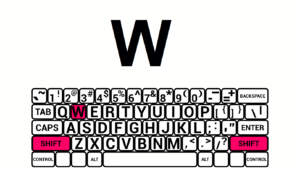 explore mode showing the on-screen keyboard and typing a capital W