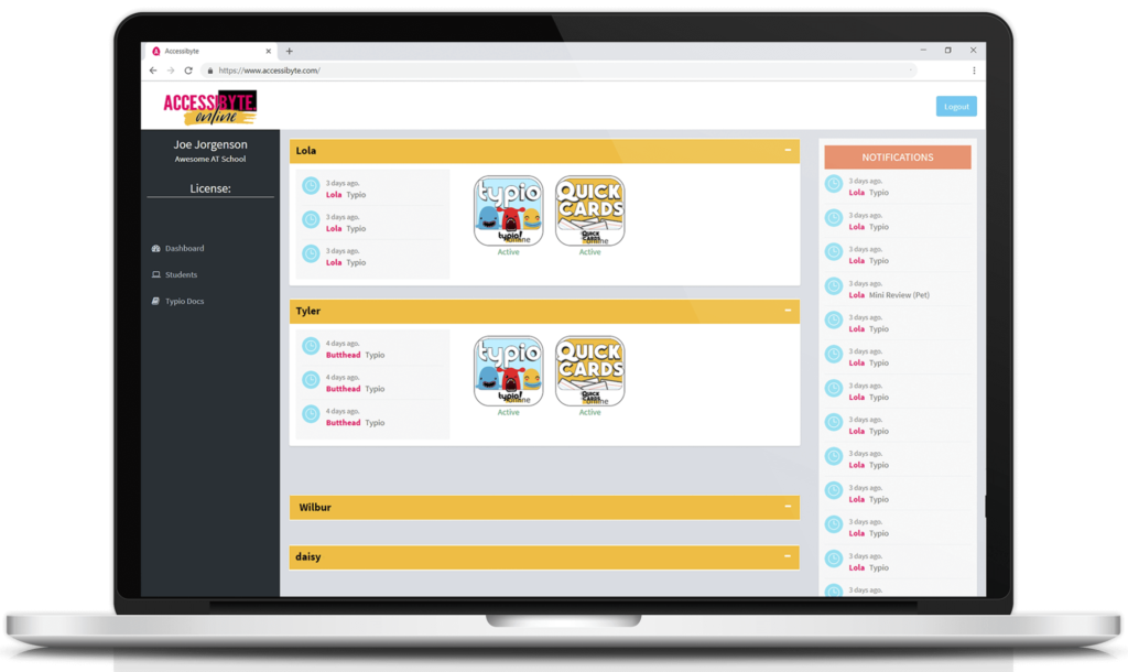 teacher dashboard screenshot