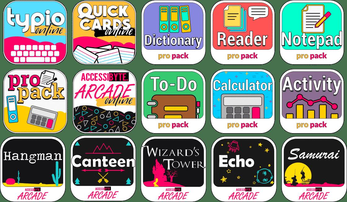 Accessibyte Online app icons for 15 apps. Typio, quick cards, propack, arcade, reader, activtiy, to-do, dictionary, encyclopedia, notepad, samurai, canteen, echo, hangman, wizards tower