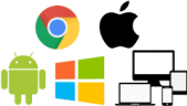 Logos for Chromebook, Macbook, Windows, Android, Laptop, Desktop and Tablet.